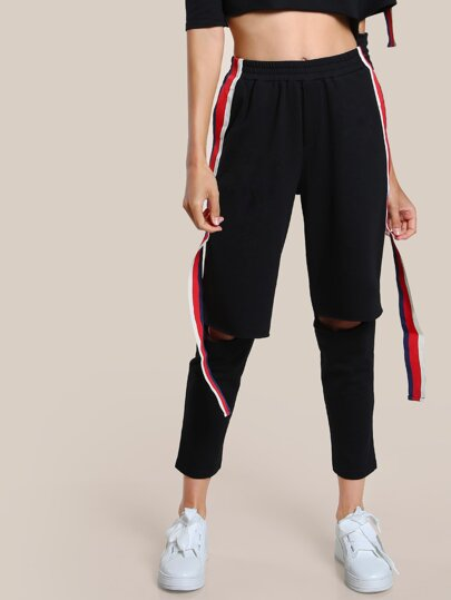 Striped Hem Track Pants BLACK
