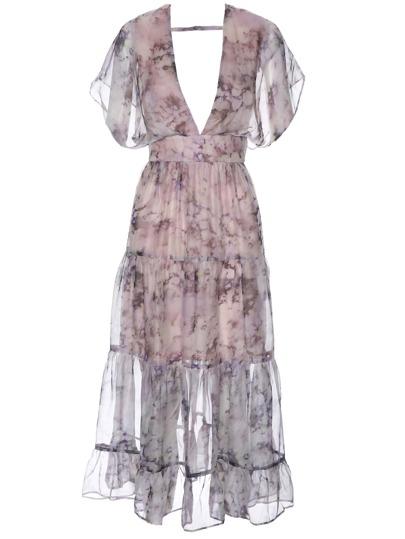 Deep V Neck Backless Floral Dress