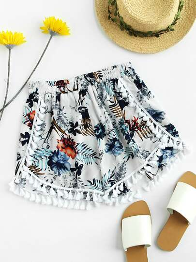 Shorts con estampado al azar y borlas