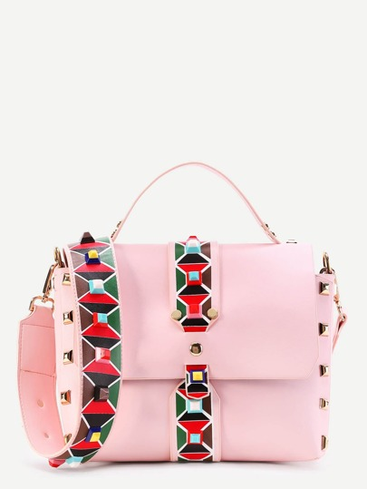 Contrast Strap PU Crossbody Bag With Studded