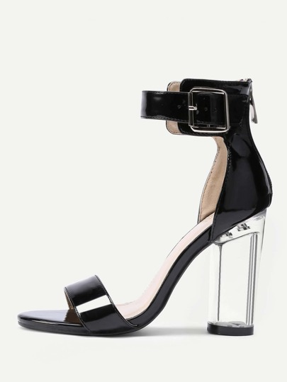 Two Part Clear Heeled Sandals