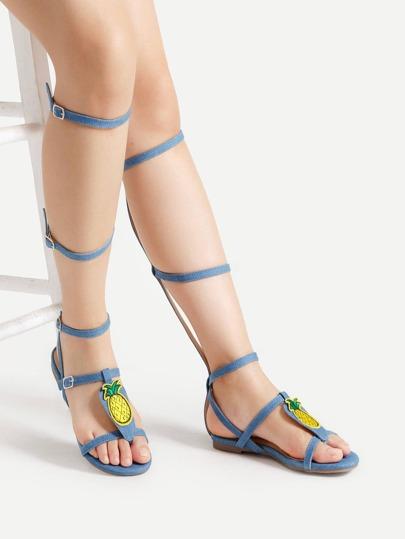 Sandales de gladiateur genou haut avec des pièces des ananas