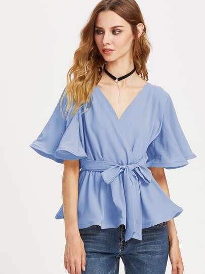 Gewickte Bluse mit Flatterndehülse
