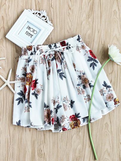 Impresión Floral Escote Aleatorio Shirred Waist Skort