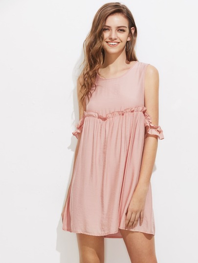 Open Shoulder Frill Trim Dress