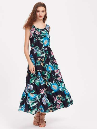 Vestido floral con cordón