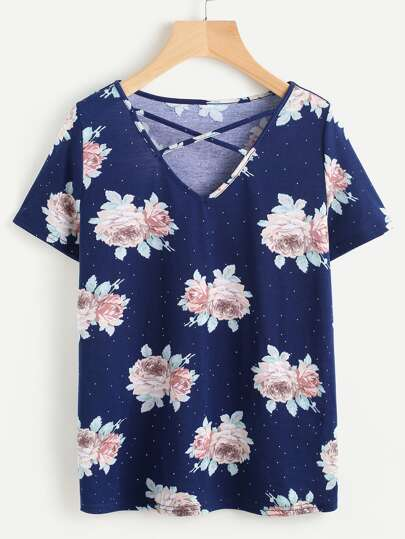 Rose Cluster Print Crisscross V Neck T-shirt