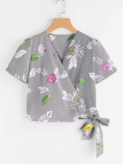 Tropical Print Pinstripe Tie Detail Blouse