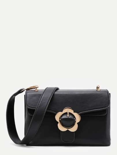 Flower Buckle PU Bag With Convertible Strap