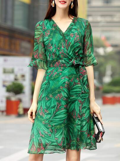V Neck Bell Sleeve Leaves Print Dress