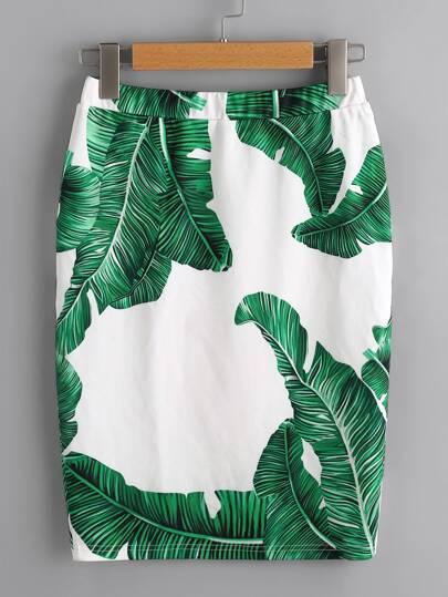 Rock mit Palmblattmuster und elastischer Taille