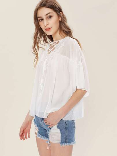 Crochet Lace Trim Lace Up Chiffon Blouse