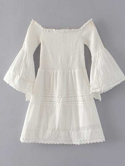 Boat Neckline Bell Sleeve Crochet Trim Dress