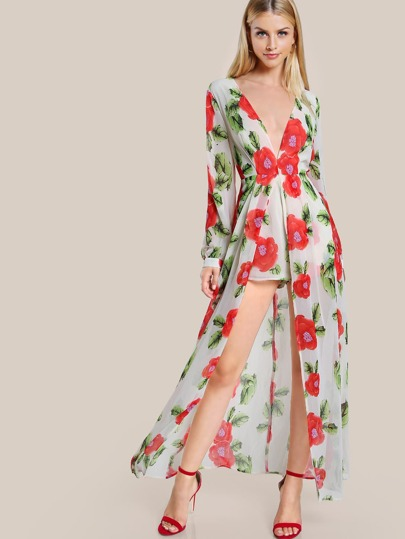 Plunge Neck Cuffed Long Sleeve Maxi Romper
