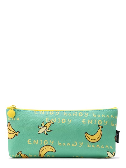 Banana Print Zipper Pouch