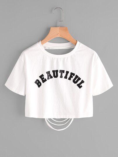 Camiseta corta con estampado con rotura