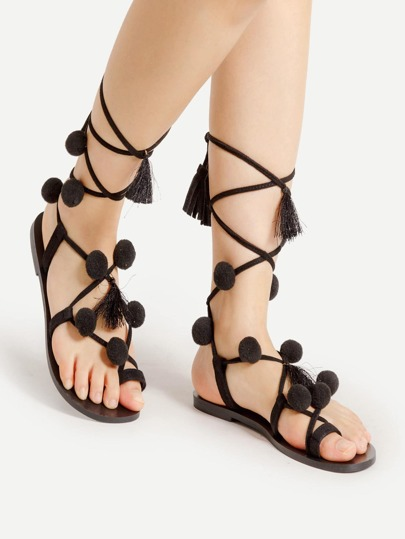 Pom Pom Embellished Lace Up Sandals
