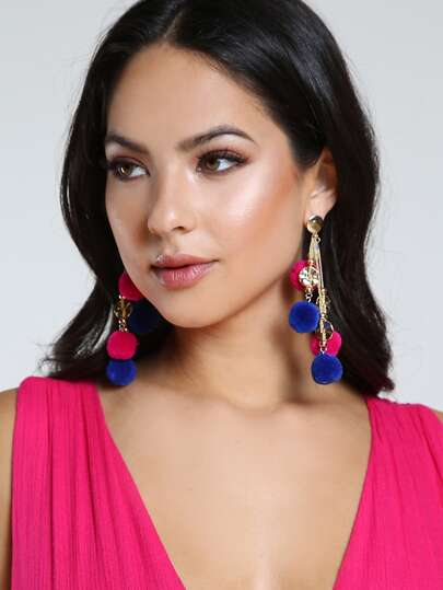 Chain & Pom Pom Earrings MULTI