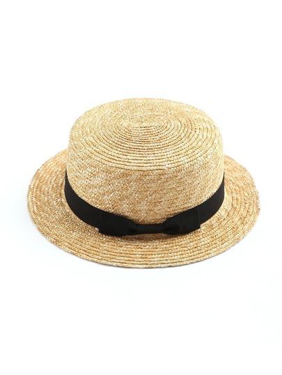 Модная соломенная шляпа с бантом