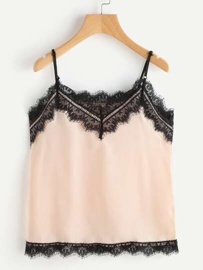 Contrast Eyelash Lace Trim Cami Top
