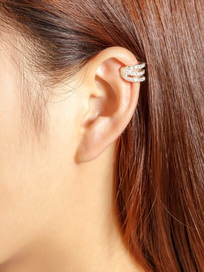 Geometric Rhinestone Embellished Ear Cuff 1pcs