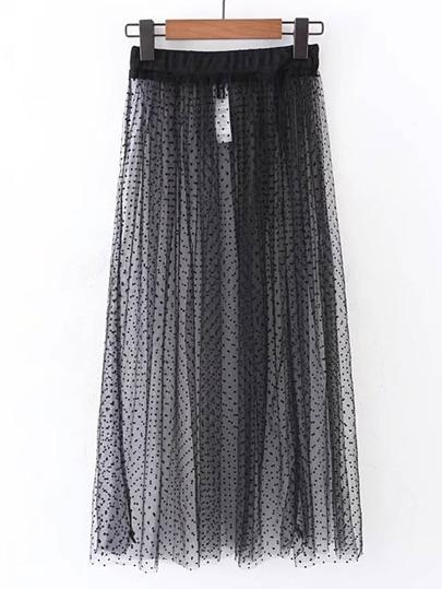 Elastic Waist Polka Dot Mesh Skirt