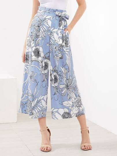 Vertical Striped And Florals Self Tie Wide Leg Pants