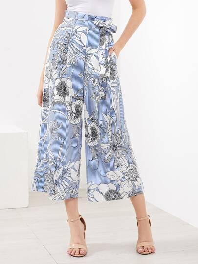 Pantalones florales de rayas verticales con cordón