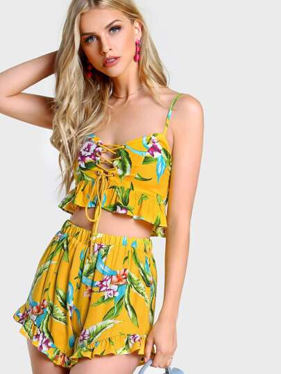 Flower Print Frilled Lace Up Bustier Top And Shorts Set
