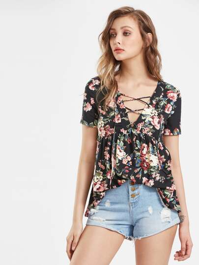 Eyelet Lace Up Plunging Babydoll Top