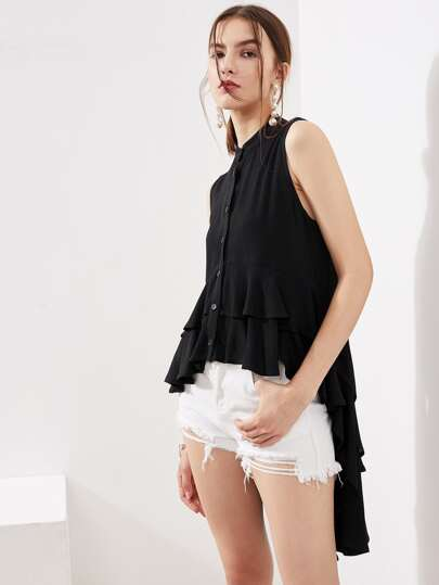 Layered Stepped Hem Crinkle Blouse