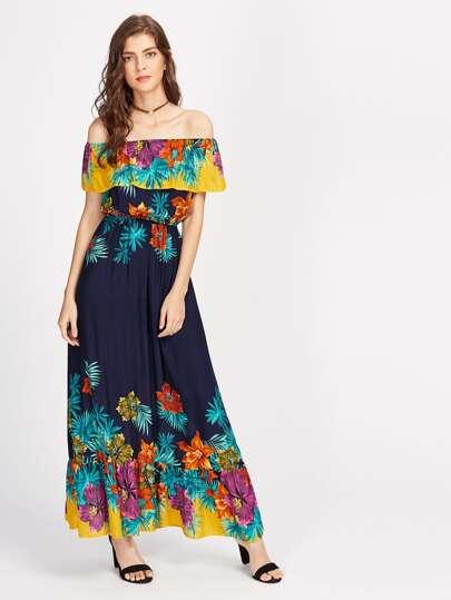 Flounce Layered Neckline Florals Dress