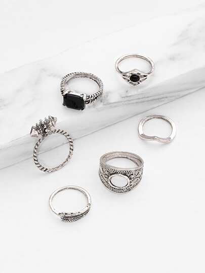 Geo Ring Set mit Strass