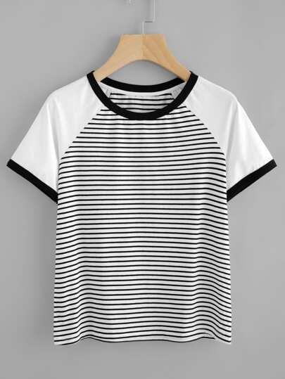 Tee-shirt manche raglan contrasté à rayures