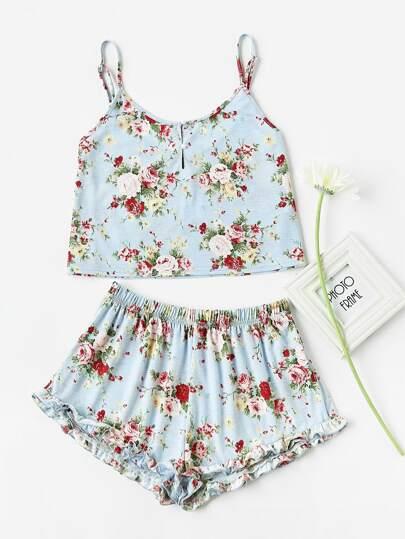 Camisole mit Knöpfen vorn und Shorts Pajama Set mit Raffung