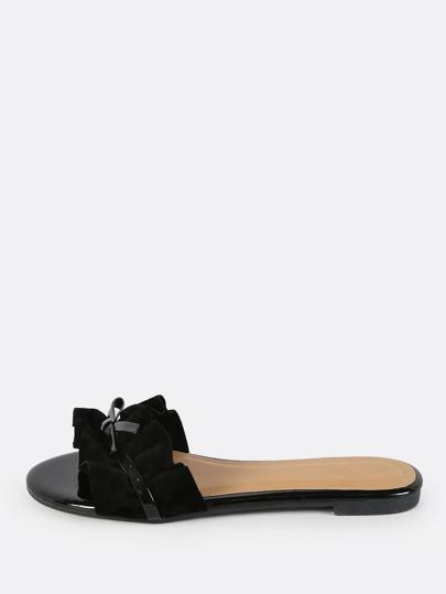 Frilly Slip On Sandals BLACK