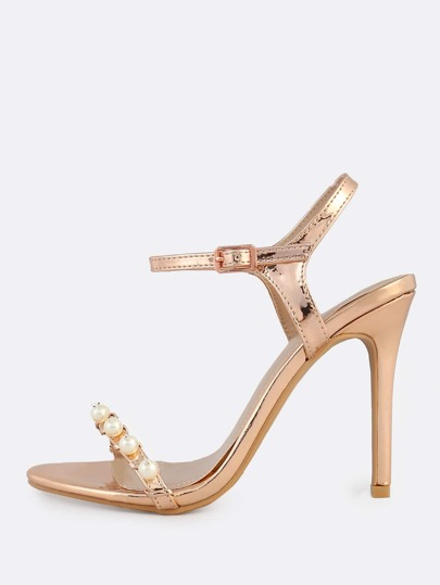 Patent Pearl Ankle Strap Heels ROSE GOLD