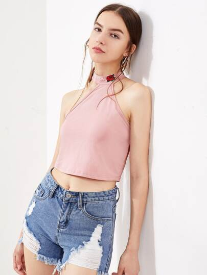 Rose Print Buttoned Halter Top