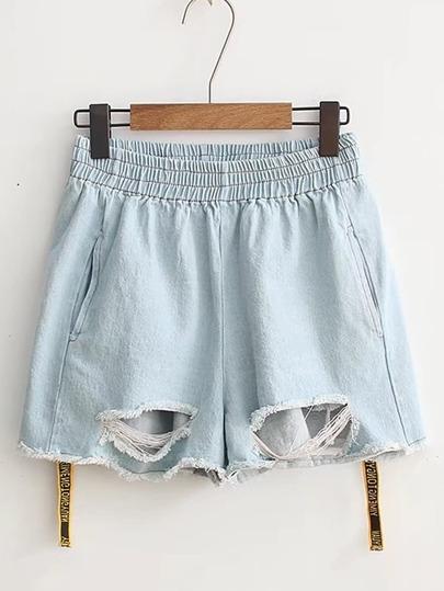 Elastic Waist Raw Hem Tape Detail Denim Shorts