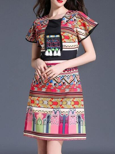 Tribal Print Fringe Dress