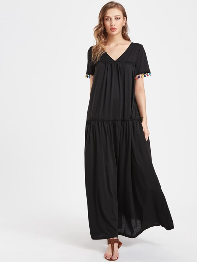 V Neckline Pom Pom Full Length Dress