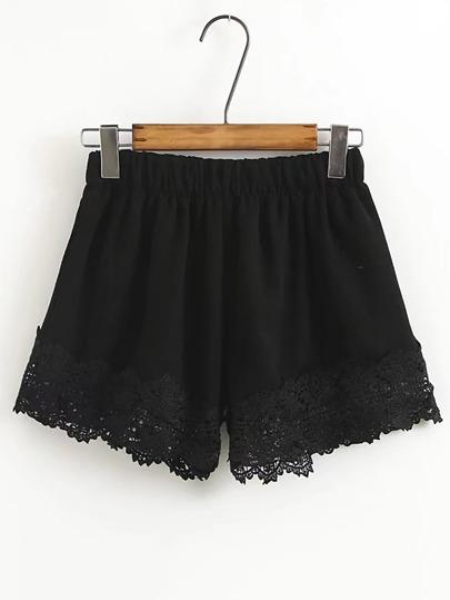 Elastic Waist Crochet Trim Shorts
