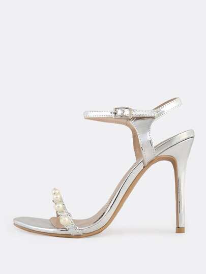 Dainty Metallic Pearl Ankle Strap Heels SILVER