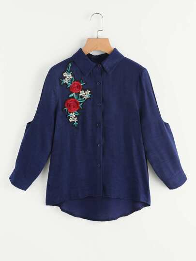 Embroidered Rose Applique Cutout Sleeve Curved Back Blouse