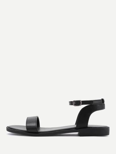 PU Ankle Strap Flat Sandals