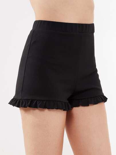 Elastic Waist Frilled Hem Shorts