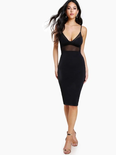 Mesh Cutout Bodycon Dress BLACK