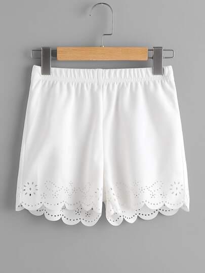 Shorts con cintura elástica con abertura a láser