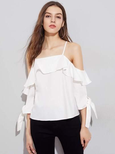 Schulterfreie Bluse mit Schleife