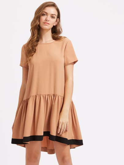 Contrast Panel Keyhole Back Smock Dress